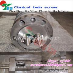 conical double barrel screw
