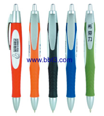 Promotion plastic ballpen with rubber barrel