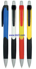 Plastic promotional ballpen with rubber grip and plastic clip