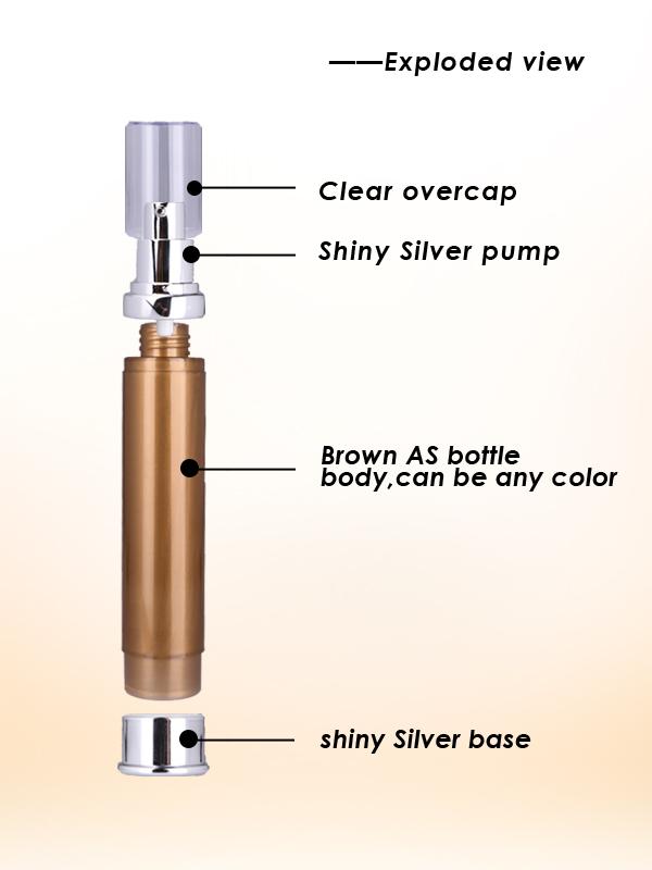 10 ml brown airless pump bottle