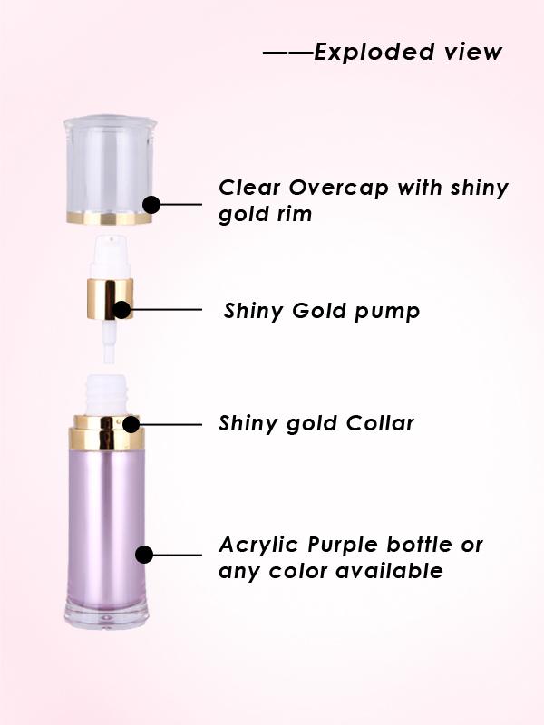 15ml purple lotion pump bottle