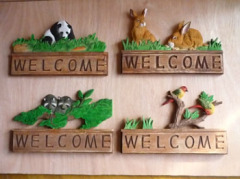 Wood Carved Animal Welcome Signs