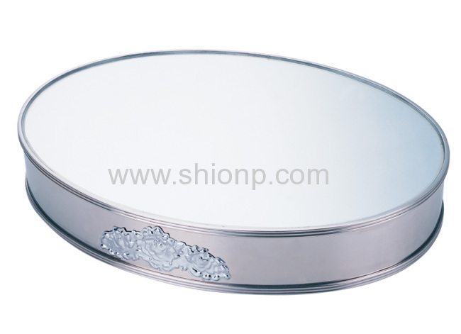 Hexagon mirror plate for buffet service