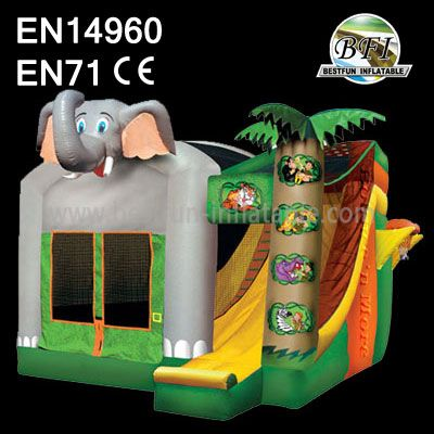 Happy Elephant Bounce House with Slide for Kids