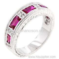 Stylish rhodium ring with ruby stones