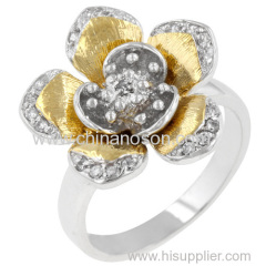 Fashion flower ring with CZ stones