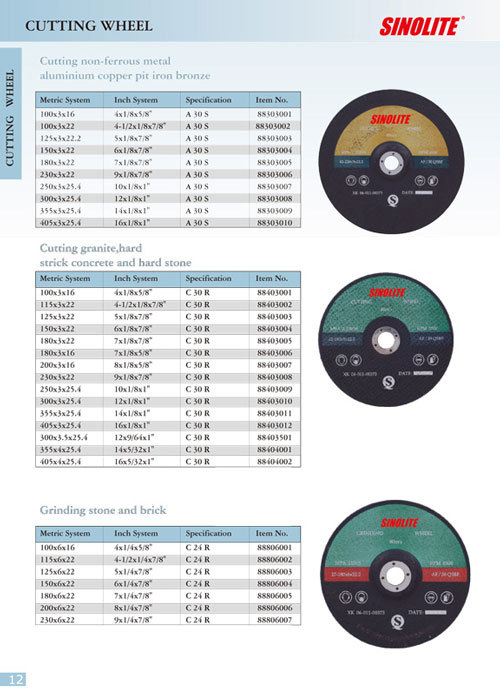 Cut-off wheels for non-ferrous metal , for granite, concrete and hard stone, for grinding stone and brick
