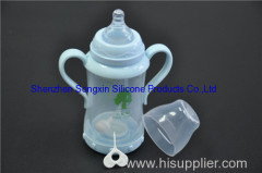 240ml glass baby bottle with handle and straw baby milk bottle