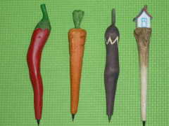 Wood Carved Vegetable Shape Pens