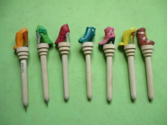 Wood Carved Shoes Shape Round Pens