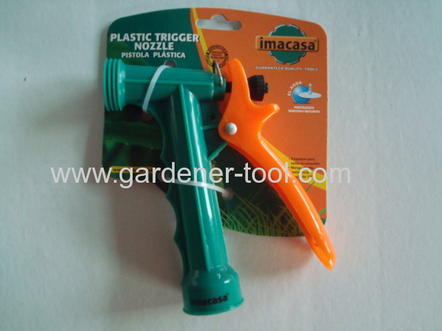 5.5protable 2-function plastic hose nozzle with outside screw at the nozzle