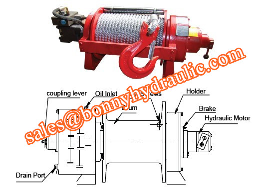 planetary type recovery hydraulic winch 1-50 ton
