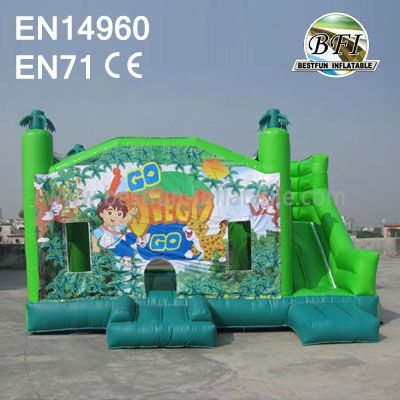 Cartoon Inflatable Jungle Bouncy Slide Combo