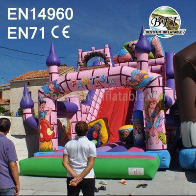 Pink Princess Inflatable King Slide for Rental
