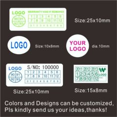Custom Design and Size Destructive Warranty Security Label Stickers