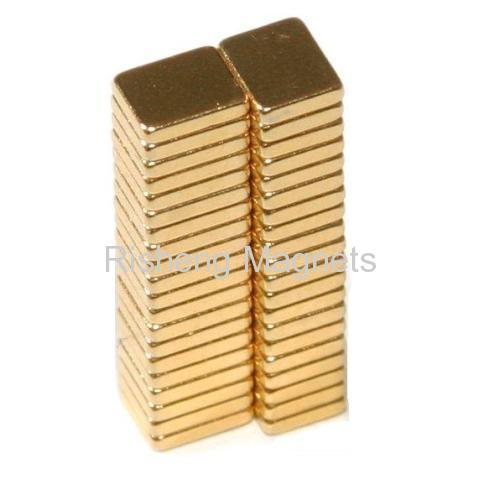 neodimio N45 Magnets Au Coated Small Block Magnet 10 x 3.5 x 2.25mm
