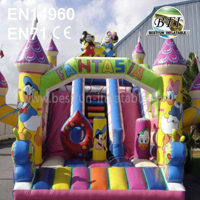 Fantastic Disney World Inflatable Castle With Slide