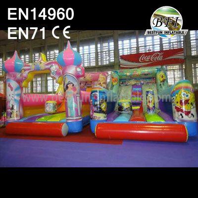 Princess and Spongebob Inflatable Bouncer Tube Slide