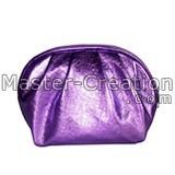 Metallic pu bag Glossy pu bag Glossy leather bag Purple makeup bag Purple cosmetic bag Purple toiletry bag Wrinkle bag