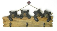 Wood Carved Mountain Animals Hook-Bears