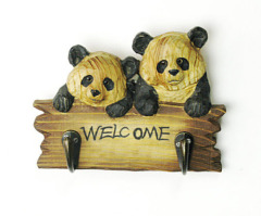 Wood Carved Mountain Animals Hook-Panda
