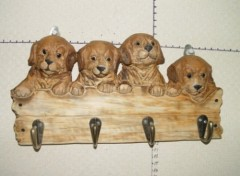 Wood Carved Animals Hook-Dogs
