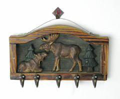 Wood Carved Mountain Animals Hook-Goats
