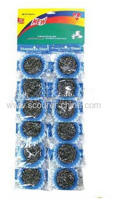 12 pcs per board/ kitchen stainless steel scrubber