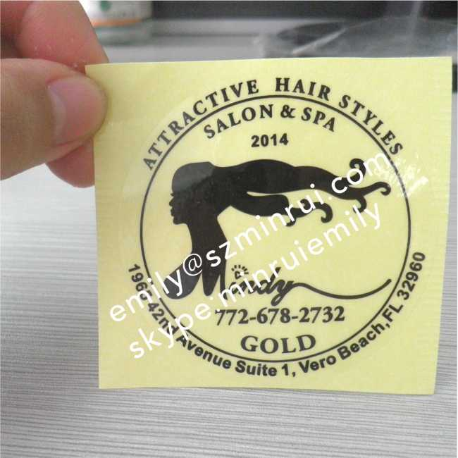 Water proof Round Transparent Labels With Costomized Logo,Clear Stickers with Black Printing,Glossy Circle Clear Labels