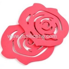 Red rose shape silicone coaster