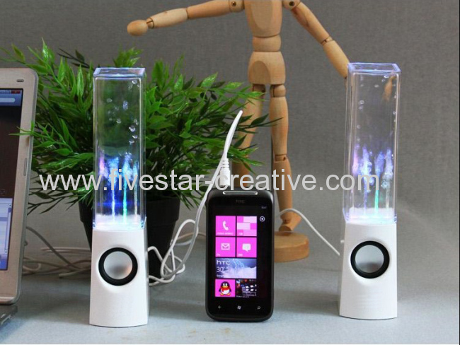 2013 New Dancing Water Mini Music Speakers USB Powered Colorful LED Fountain For iPhone iPod Samsung