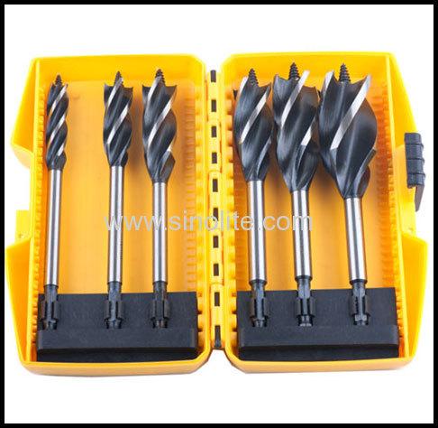Four Flute Auger Bit 6pcs size:12-16-18-20-2-25-32mm x 165mm