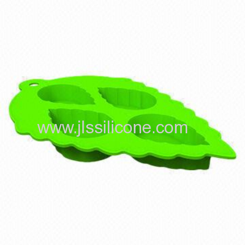 mint leaf shape food grade silicone ice cube maker