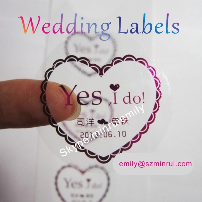 Custom Round Transparent Labels Stamped With Red,Gold,Silver,Clear Labels Embossed With Golden,Round Clear Stickers