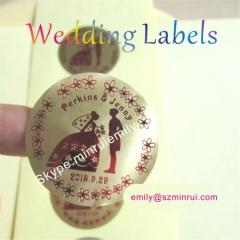 Round Matt Gold Wedding Stickers