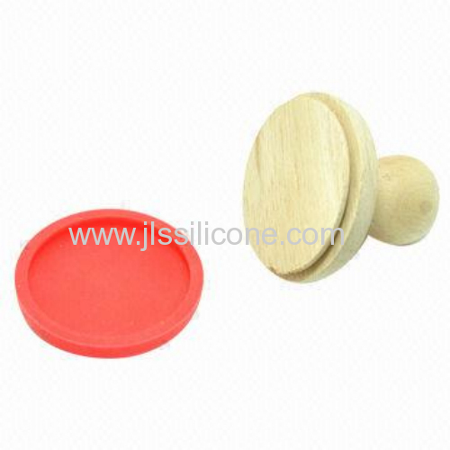 2013 silicone cookie stamp with wooden handle