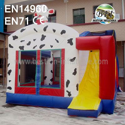 Inflatable Cow Club Bounce House with Slide