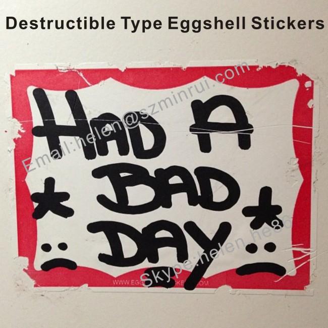 Self Destructive Vinyl Stickers Eggshell Sheets 7×7