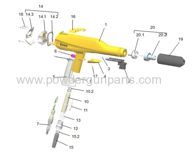 manual corona spray gun OPTISELECT and electrostatic paint gun spare parts