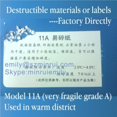 Minrui Very Fragile Destructible Vinyl Label Materials