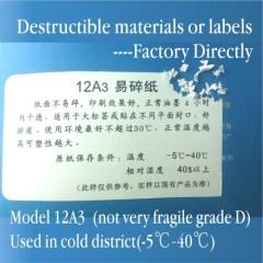 Minrui Code Area Use 12A3 Ultra Destructive Vinyl Label Materials