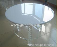 Elegant white two layers of circular acrylic round table