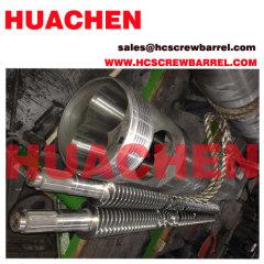 Conical extruder screw barrel