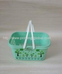 Heat transfer film for plastic handle fruit bucket