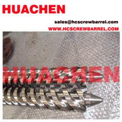 Conical twin bimetallic screw