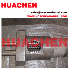 Bimetallic conical extruder screw barrel