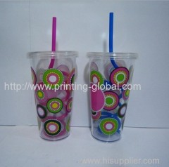 Heat transfer film for plastic straw cup