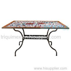Wrought iron and ceramic mosaic rectangular table