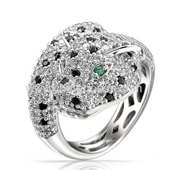 2014 fashion tiger rings with black and white CZ stones