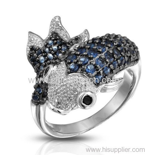 CZ stones fish ring with brass material